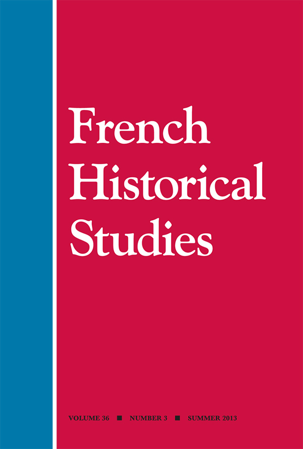 Cover of French Historical Studies 36:2