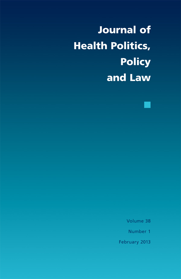 Journal of Health Politics, Policy and Law 38:1381