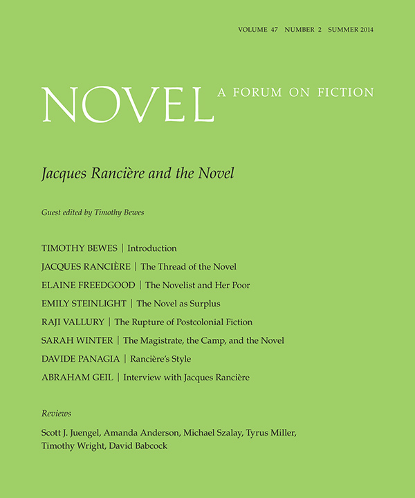 Jacques Rancière and the Novel