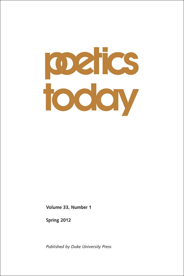 Poetics Today 33:1